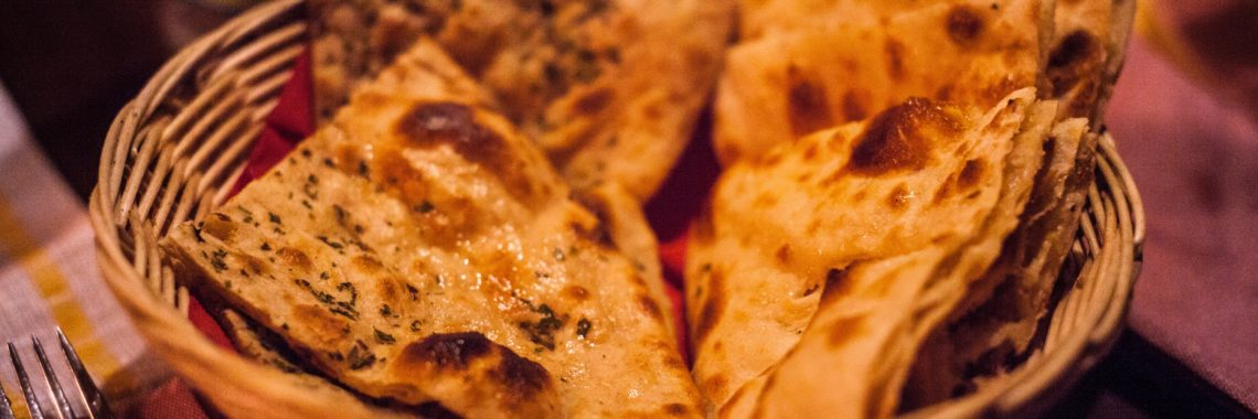 Some tasty naans from an Indian restaurant Glasgow.